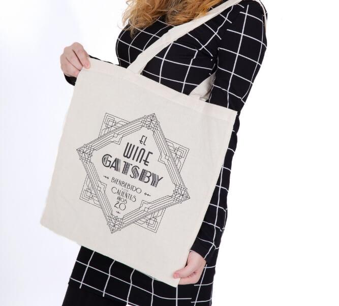 Bolsa de algodón cruda con logo