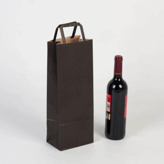 Bolsa para botellas asa plana negra