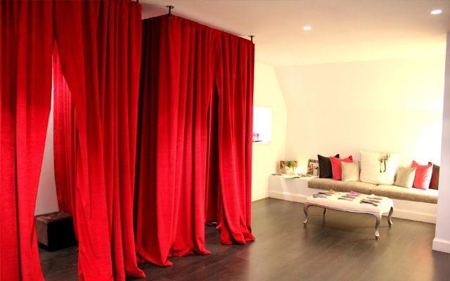 Probador con cortina