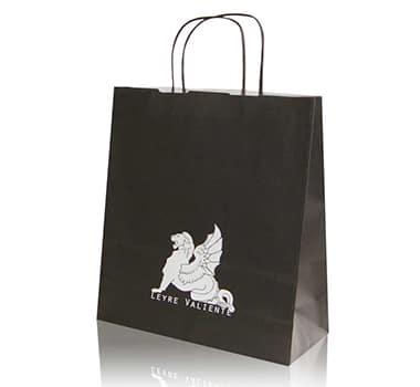 bolsa de papel asa rizada negra