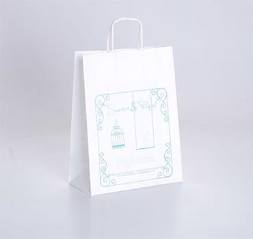 bolsa de papel blanca impresa con tramas