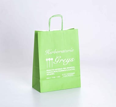 bolsa de papel en color verde