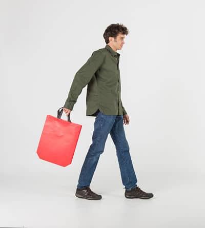 bolsa plastificada rojo