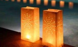 lámparas hechas con bolsas de papel