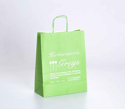 bolsas papel verde asa rizada herbolario
