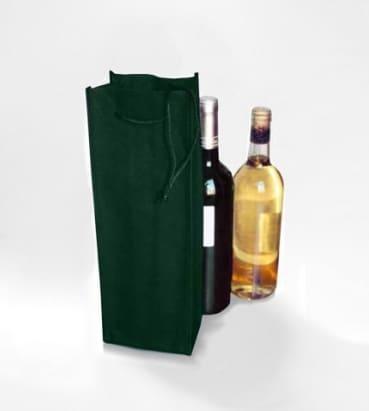 Bolsas verdes para llevar botellas