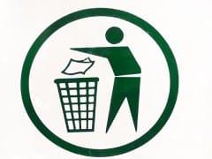 logotipo de tirar papel a la papelera
