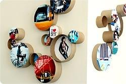 marcos de fotos con rollos de papel