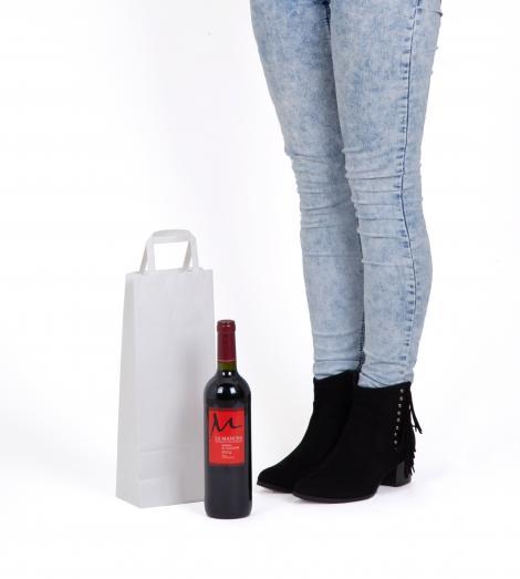 Bolsa blanca para una botella 14x35x9